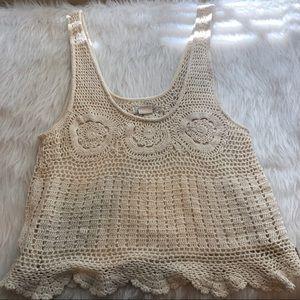 Billabong Designers Closet crochet cotton top sz M